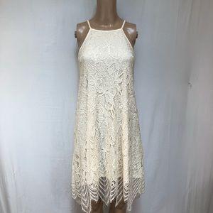Love Fire women's Lace Dress Sz M. Lined Cream